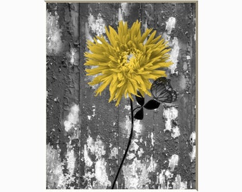 Yellow Gray Rustic Modern Floral Butterfly Wall Art Home Decor Matted Picture