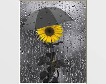 Bathroom Yellow Gray Pictures, Sunflower Decor, Yellow Grey Bath, Powder Room Decor, Yellow Picture, Matted Wall Art