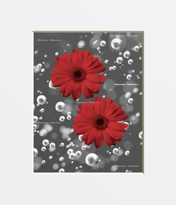 Red Bathroom Wall Art Red Daisy Flowers Bubbles Modern Red Etsy