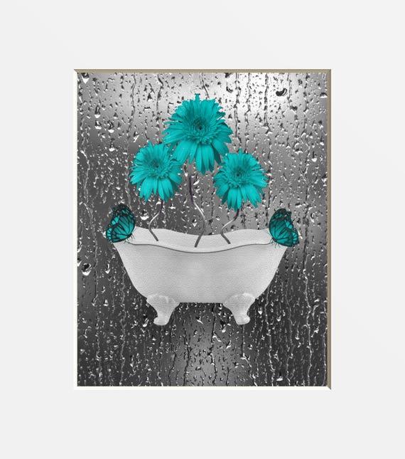 Teal Gray Bathroom Wall Art Teal Daisy Flowers Teal