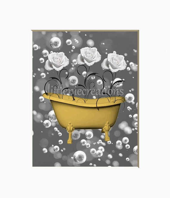 Yellow Gray Bathroom Decor Yellow Flowers Prints Raindrops Yellow Home Decor Matted Picture