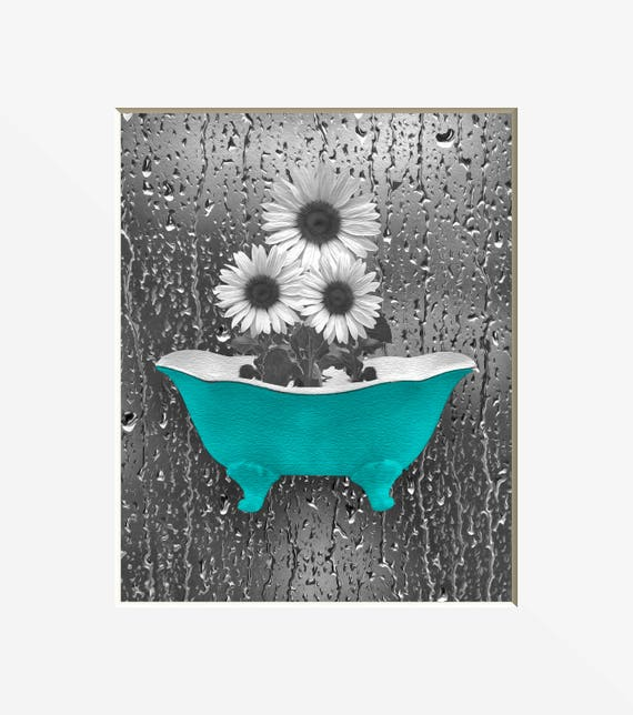 Sunflower Bathroom Decor Teal Gray Wall Art Sunflower Etsy