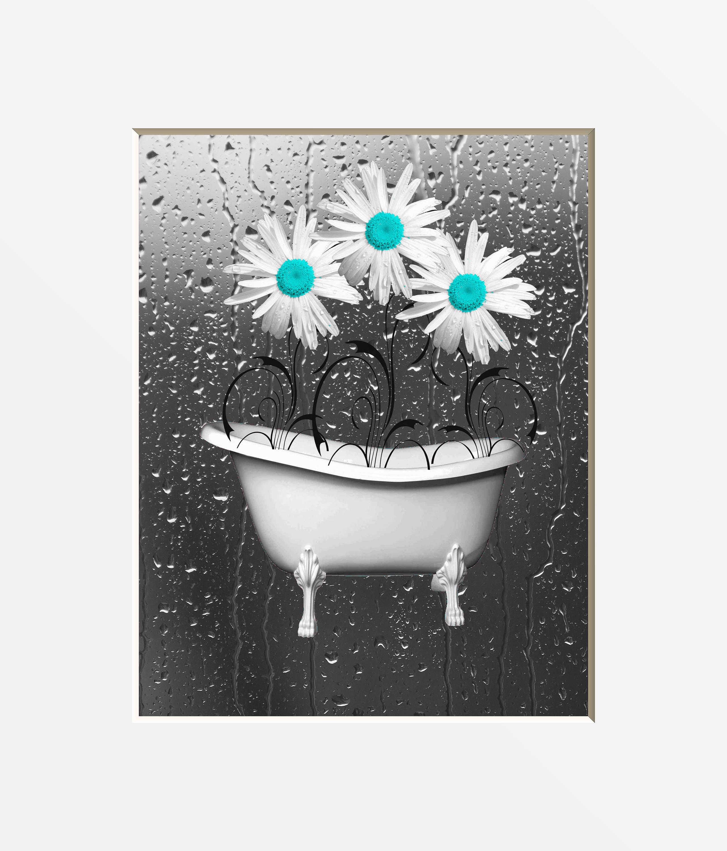 Bathroom Art Grey: Teal Gray Bathroom Wall Art Teal Daisy Flowers Bathtub