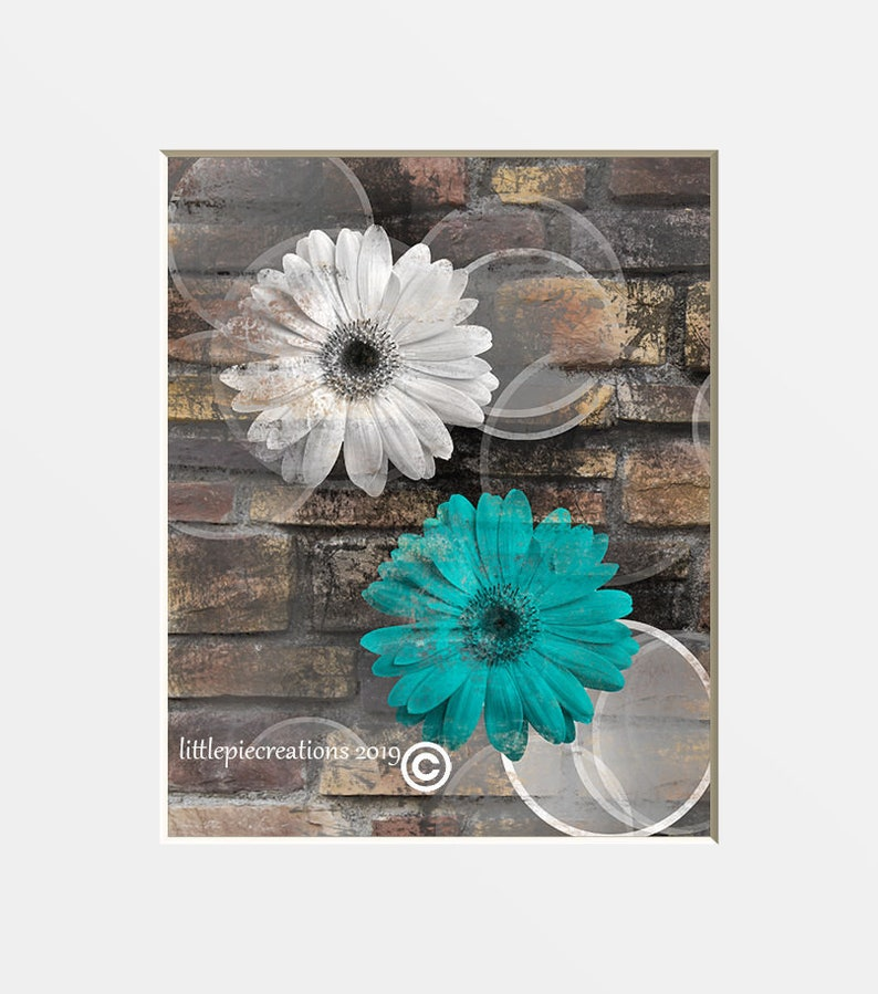 Teal Brown Wall Art, Modern Rustic Bathroom, Living Room, Bedroom Wall  Pictures, Daisy Flowers Home Decor Matted Picture