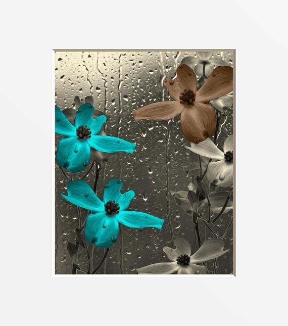 Photos d'Art de mur de salle d'eau salle de bain marron turquoise,  turquoise marron fleurs Home Decor mural Art passe-partout photo