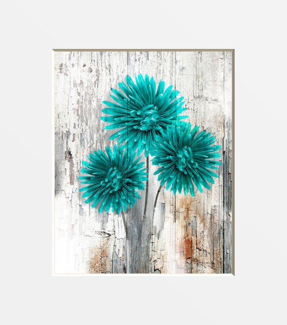 Teal Brown Rustic Home Decor, Teal Flowers, Bedroom, Living Room Farmhouse  Wall Art Matted Picture