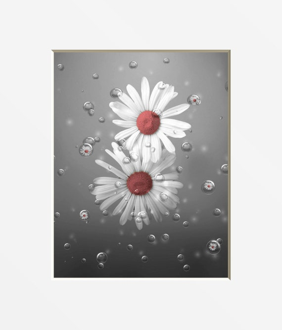 coral gray bathroom decor daisy flowers bubbles decorative etsy rh etsy com Coral Gray Bathroom Color Schemes Pinterest Coral Bathroom