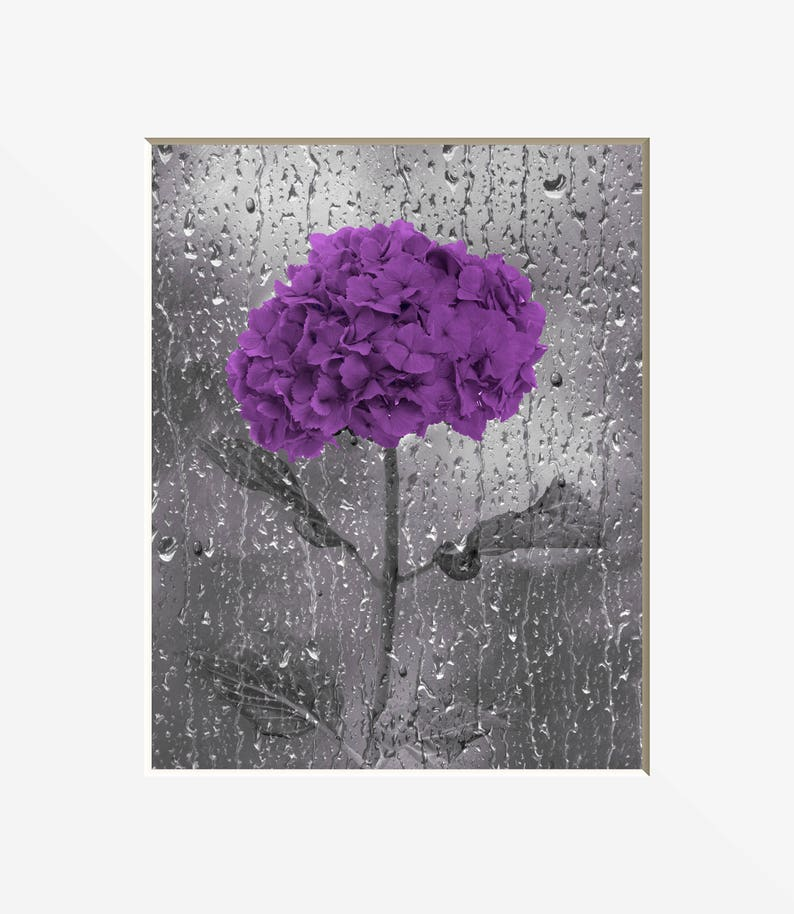 Surprising Purple Gray Bathroom Wall Art Purple Flower Raindrops Modern Purple Bath Home Decor Matted Picture Home Interior And Landscaping Ologienasavecom