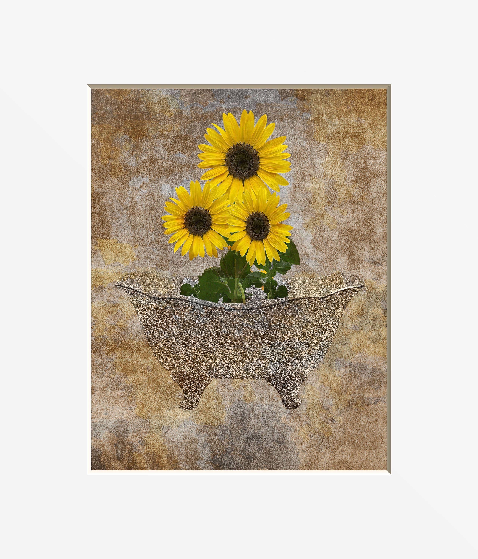 Sunflower Wall Decor Rustic Sunflower Bathroom Powder Room ...