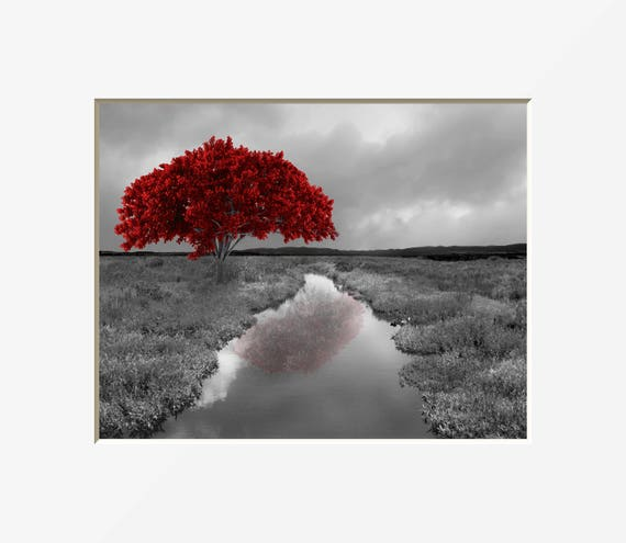 Black White Red Wall Pictures Tree Landscape Modern Red Gray Home Decor Matted Wall Art Picture