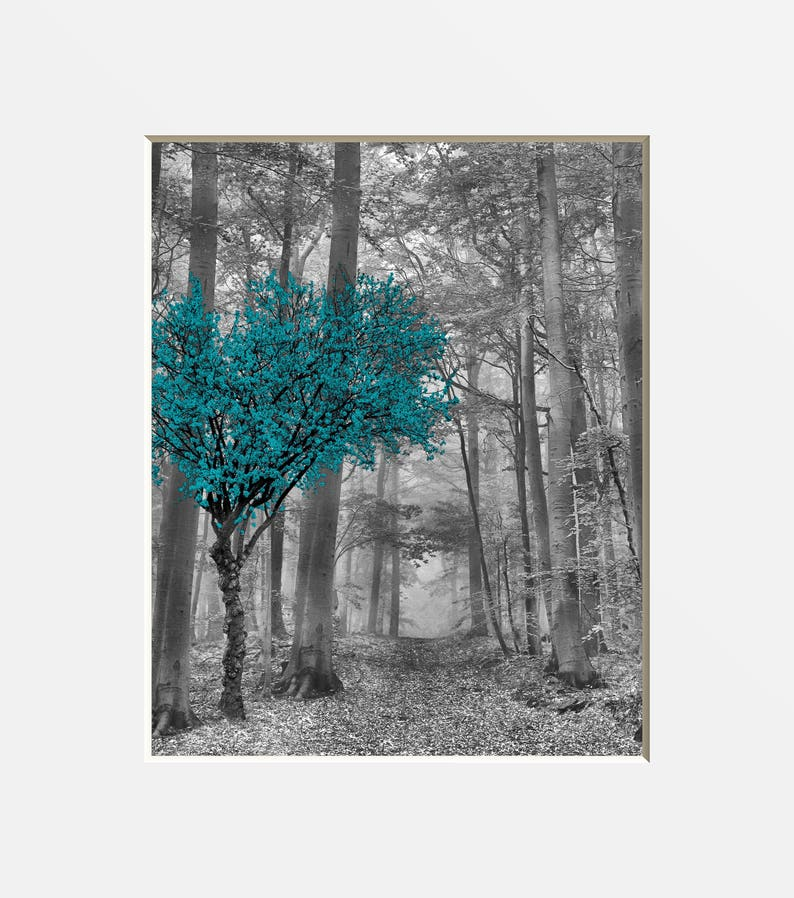 black white teal tree forest path wall art home decor teal etsy rh etsy com