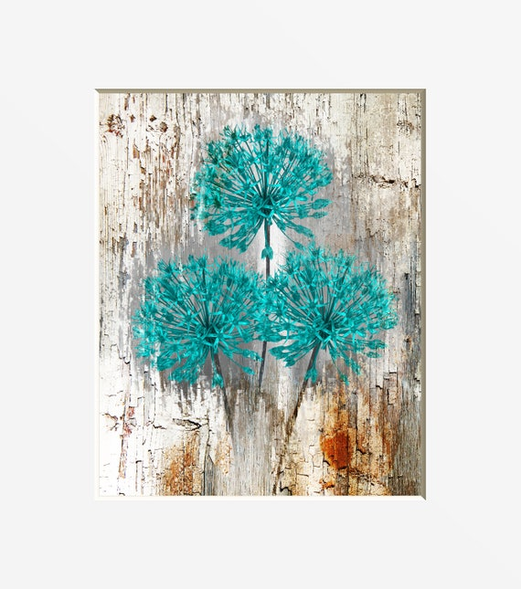 Rustic Teal Brown Floral Home Decor Bedroom, Living Room, Bathroom Home  Decor Matted Artwork Picture (Options)