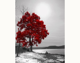Black White Red Wall Art, Red Tree Lake Landscape, Bedroom, Living Room Home Decor Matted Photography Artwork Picture