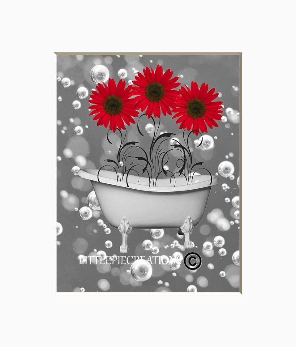 Red Gray Modern Bathroom Wall Decor Sunflowers Bubbles ...