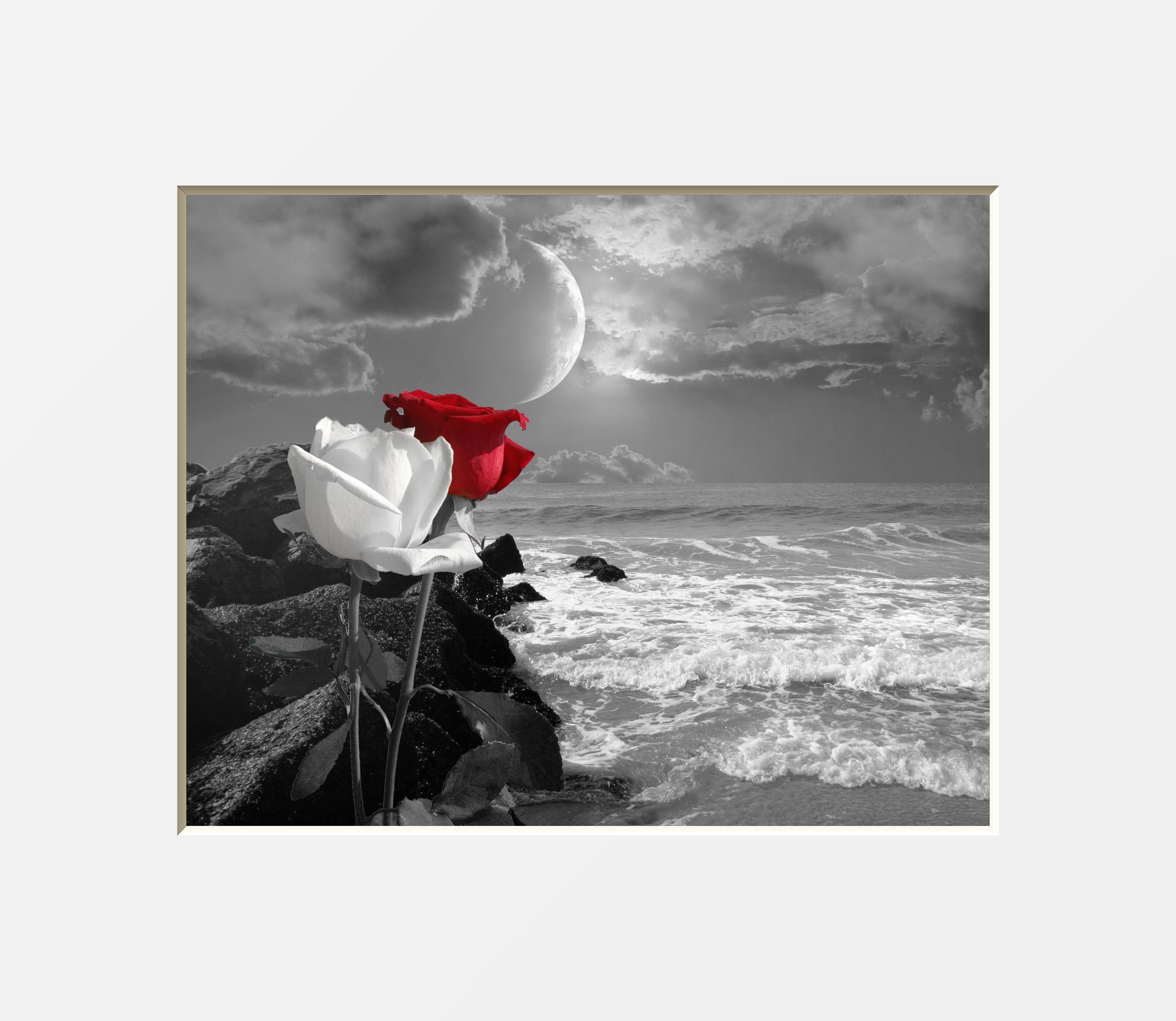 Black white red wall art red gray rose flowers coastal ocean moon decor red pop of color bathroom bedroom red gray matted picture