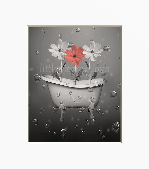 coral gray bathroom decor coral gray bathroom home decor wall etsy rh etsy com Coral and Grey Bathroom Coral Gray Bathroom Color Schemes