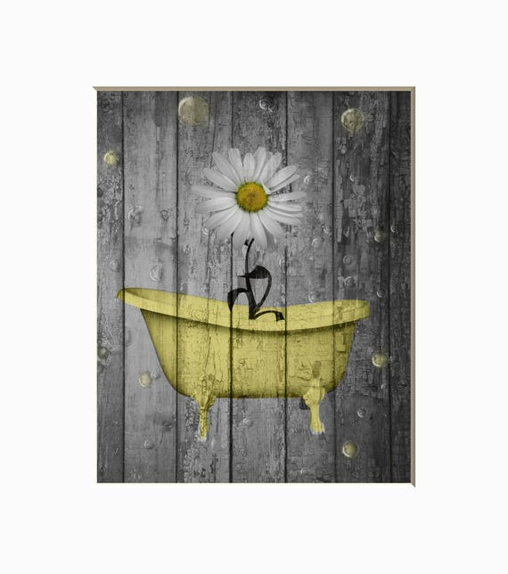 Yellow Gray Rustic Farmhouse Bathroom Wall Art Pictures Daisy