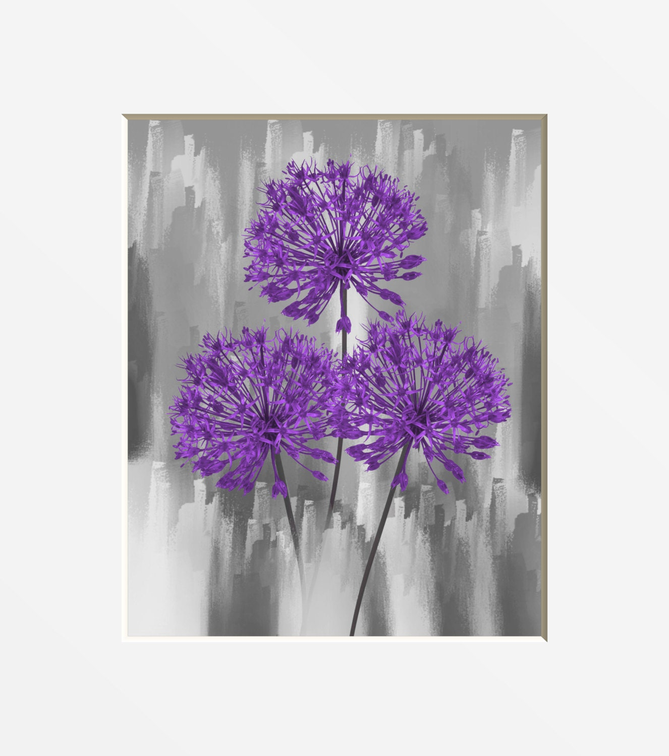 purple gray floral wall art purple home decor modern bedroom etsy. Black Bedroom Furniture Sets. Home Design Ideas