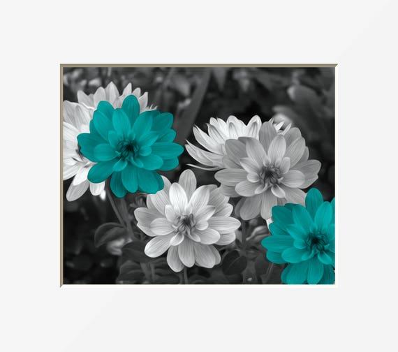 Black White Teal Bedroom Bathroom Living Room Floral Artwork Etsy