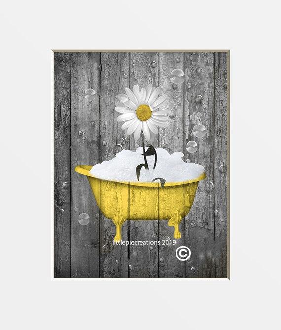 Yellow Gray Rustic Farmhouse Bathroom Wall Art Daisy Flower Etsy