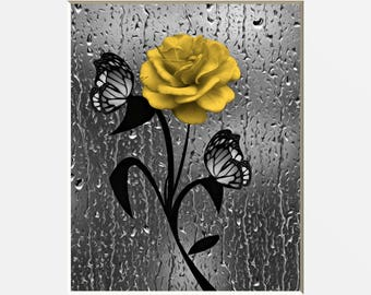 Yellow Gray Bathroom Decor, Yellow Rose Flower Butterflies, Raindrops, Yellow Bath/Powder Room Wall Matted Pictures