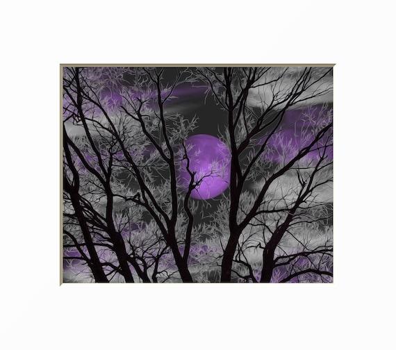 Black White Purple Wall Art, Tree Moon Decor, Purple Bedroom, Moon Art,  Tree Art, Purple Home Decor Picture
