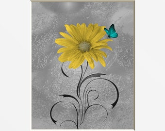 Yellow Teal Wall Decor, Yellow Flower, Teal Butterfly, Yellow Gray Home Decor Matted Picture