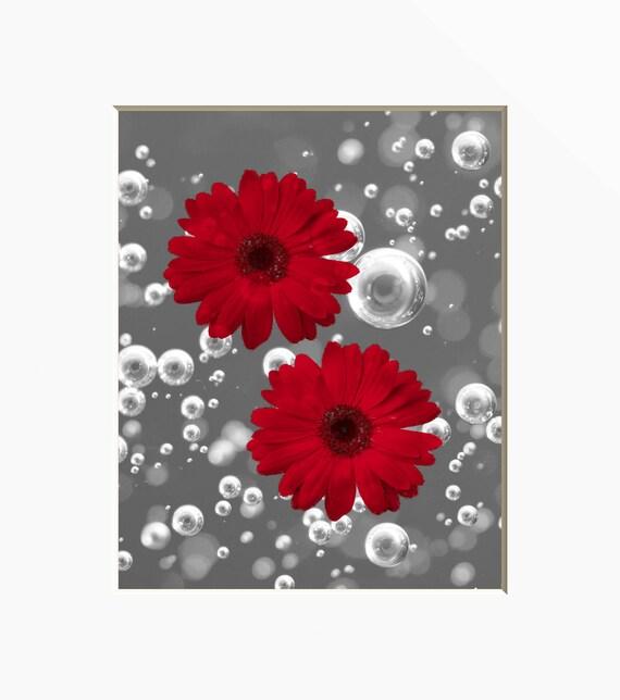 Art mural salle de bain rouge fleurs de Marguerite rouge   Etsy
