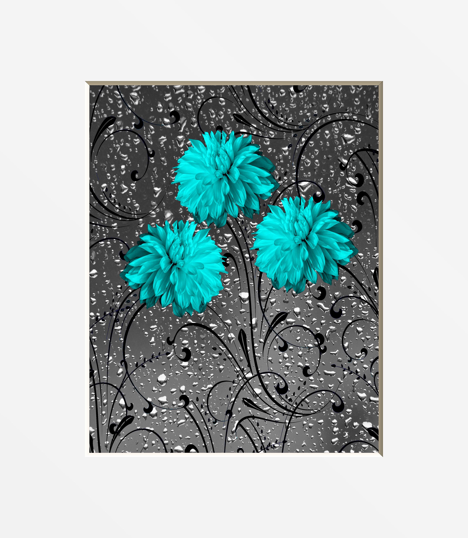 Teal Gray Bathroom Wall Decor Teal Flowers Modern Teal