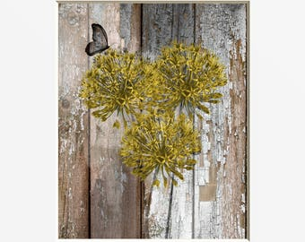 Rustic Home Decor, Yellow Flowers, Butterfly, Rustic Yellow Brown Farmhouse Wall Art Picture