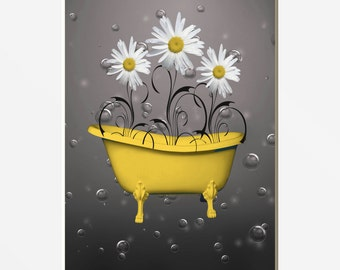 Yellow Daisy Flowers Bathtub, Bubbles, Bathroom, Powder Room, Yellow Home Wall Art Matted Picture