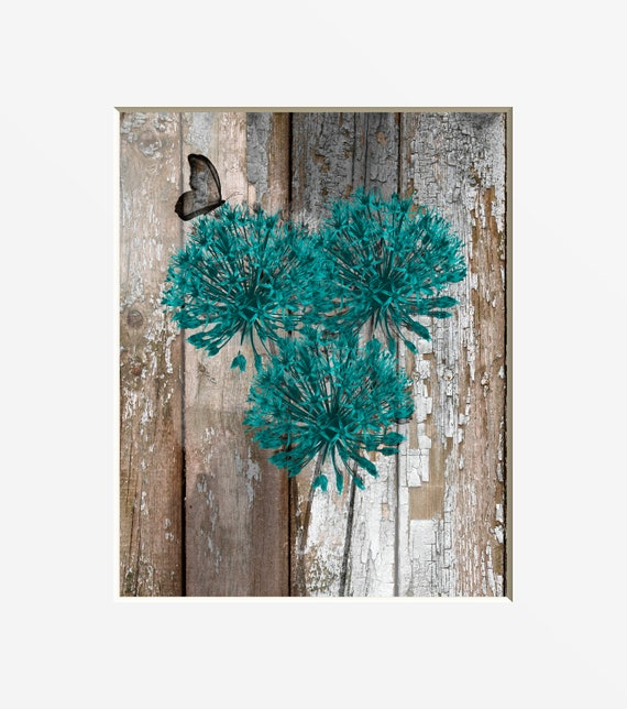 Teal Brown Rustic Home Decor, Teal Flowers Butterfly, Farmhouse Decor,  Rustic Bathroom, Rustic Living Room, Rustic Modern Home Wall Art