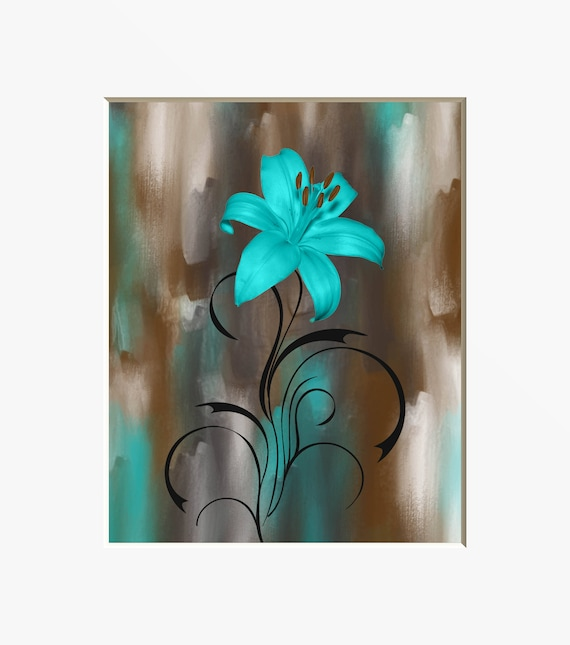 Teal Brown Modern Wall Decor, Lily Flower, Teal Picture, Bathroom Bedroom  Teal Wall Art, 8x10 Matted to 11x14 White Mat