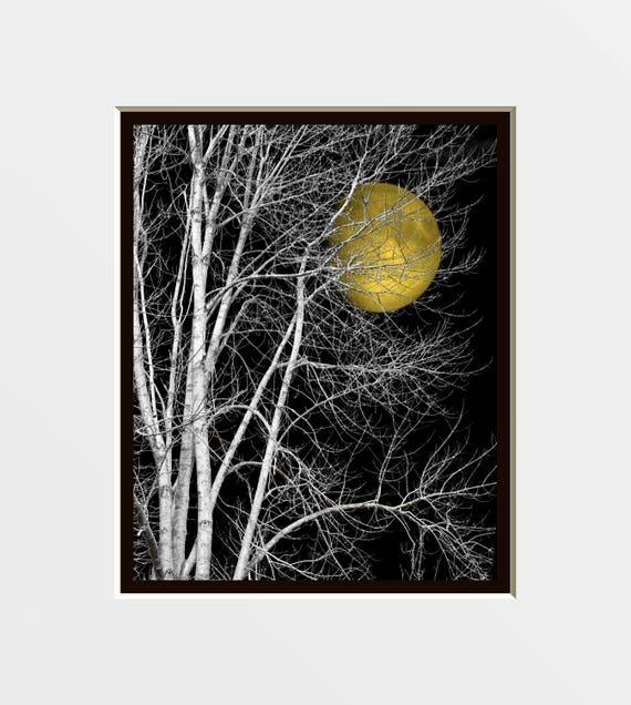 Black white yellow decor tree moon wall art yellow moon pop