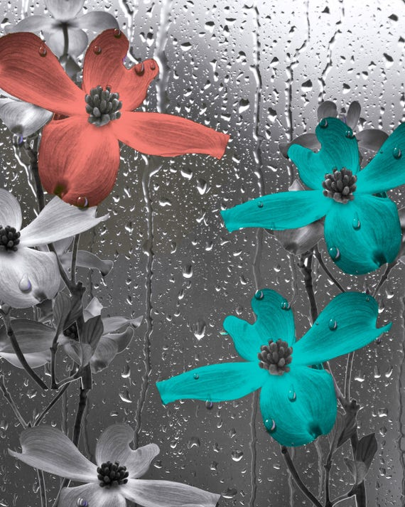 Teal Coral Bathroom Decor Teal Flower Coral Flower Modern Bathroom Coral Teal Matted Wall Picture