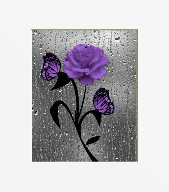 Purple Wall Art Purple Rose Flower Butterflies Purple Etsy