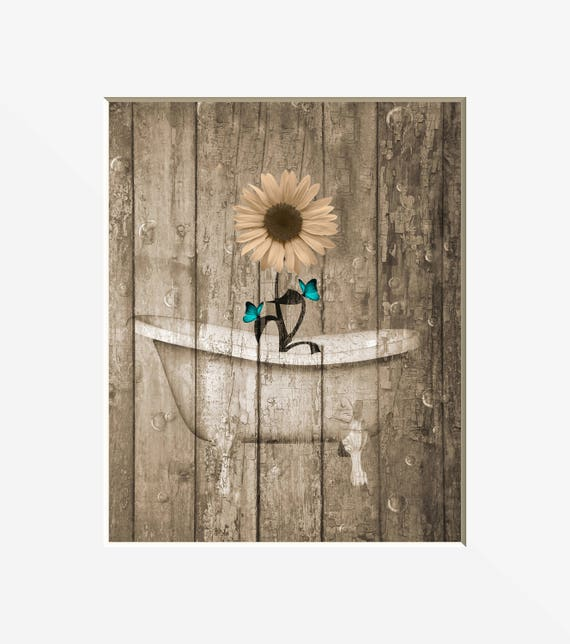 Farmhouse Bathroom Decor, Sunflower, Butterflies, Bubbles, Bathtub Wall  Art, Teal Brown Bathroom Matted Country Wall Pictures