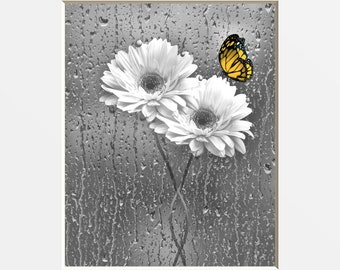 Yellow Gray Daisy Flowers Butterfly, Yellow Bedroom Bathroom, Living Room, Pop Of Yellow, Home Decor Matted Picture