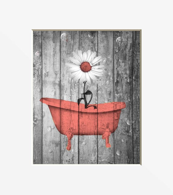 coral gray bathroom decor rustic country farmhouse bathroom etsy rh etsy com Green and Coral Bathroom Green and Coral Bathroom