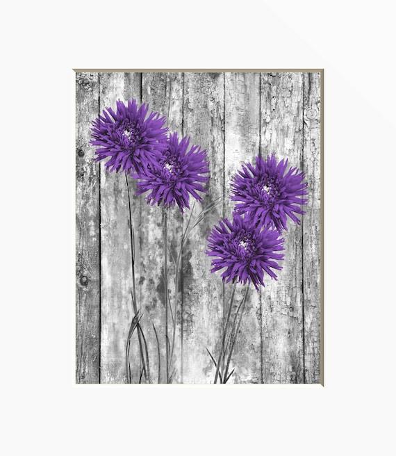 Décoration rustique moderne violet fleurs, salon violet, chambre mur décor  feutré photo