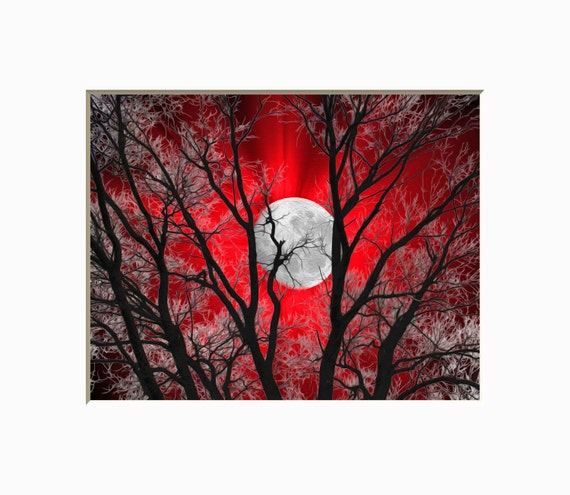 Noir blanc rouge Home Decor Art, Art de la lune, chambre à coucher rouge  contemporain Wall Decor photo