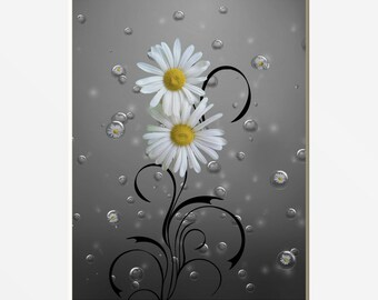 Yellow Gray Bathroom Decor, Yellow Daisy Flowers Bubbles, Yellow Home Decor Matted Artwork