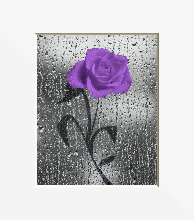 Purple Wall Decor, Purple Gray Bathroom Bedroom Wall Pictures, Rose Flower  Butterflies Decor, Purple Gray Wall Art Matted Picture