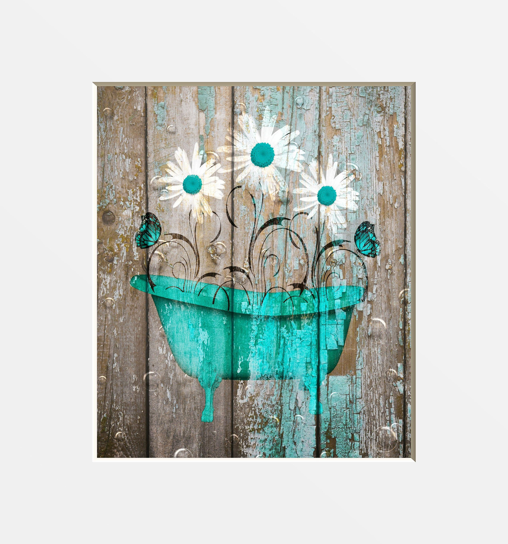 Teal Brown Farmhouse Bathroom Decor Teal Daisy Flower | Etsy