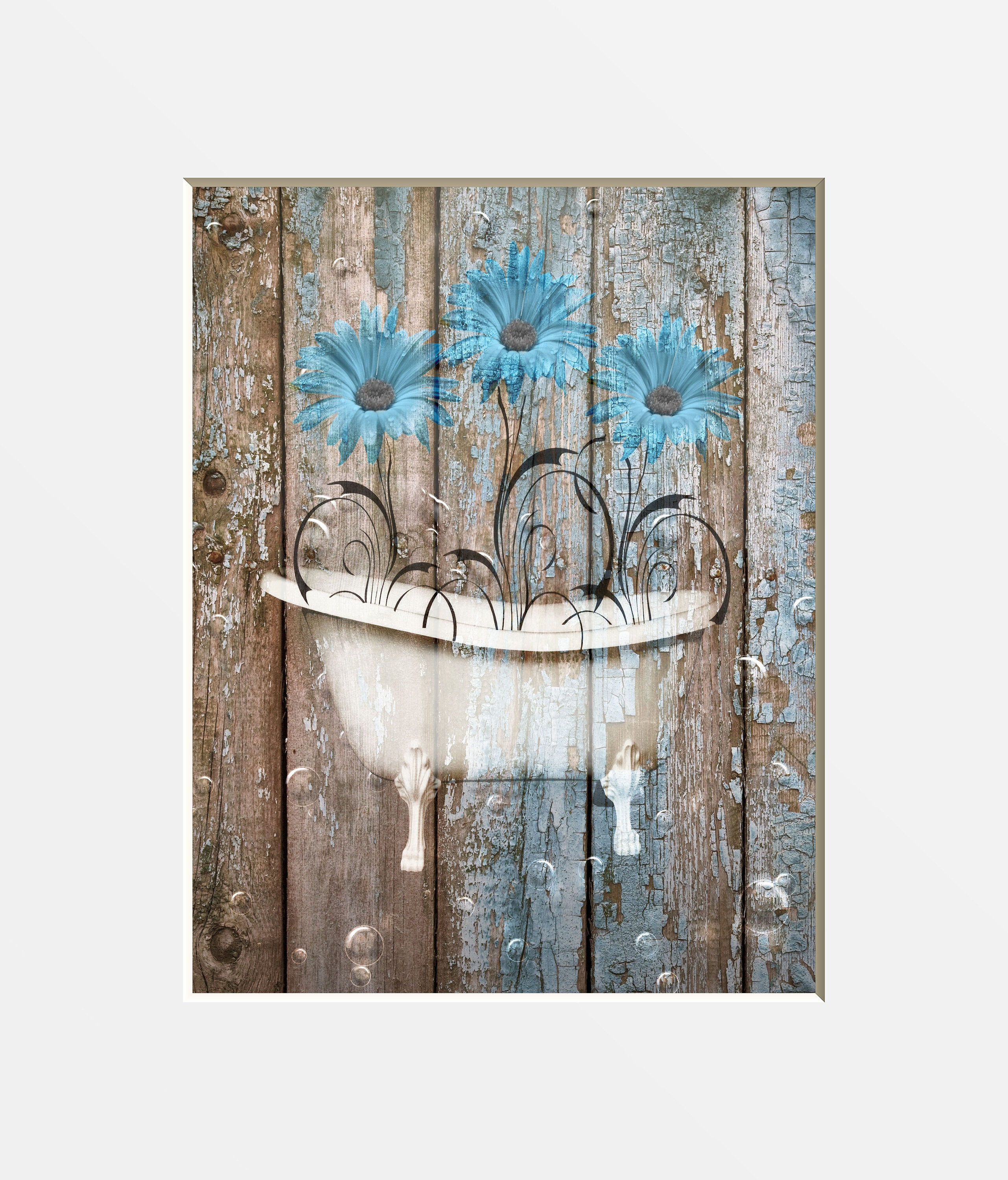 Brown Blue Rustic Home Decor Daisy Flowers Farmhouse Bath