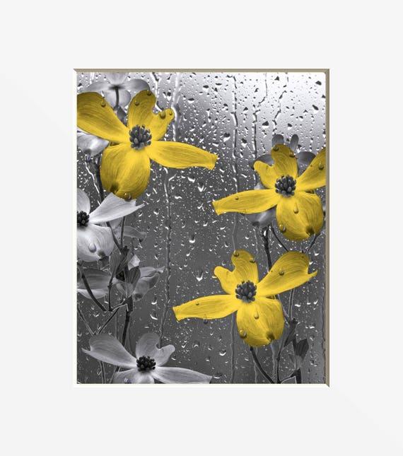 Art mural salle de bain gris jaune, fleurs jaunes, jaune bain Home Decor  feutré photo