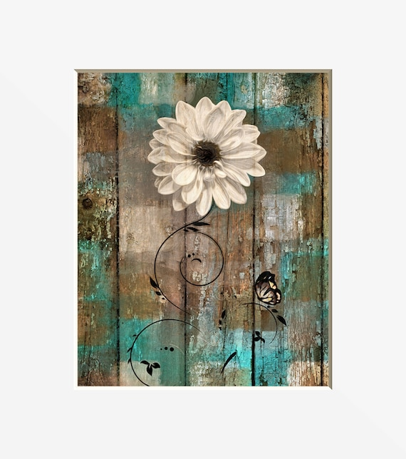 Teal Brown Rustic Home Decor, Rustic Floral Butterfly, Teal Brown Bathroom  Bedroom Rustic Decor Matted Picture