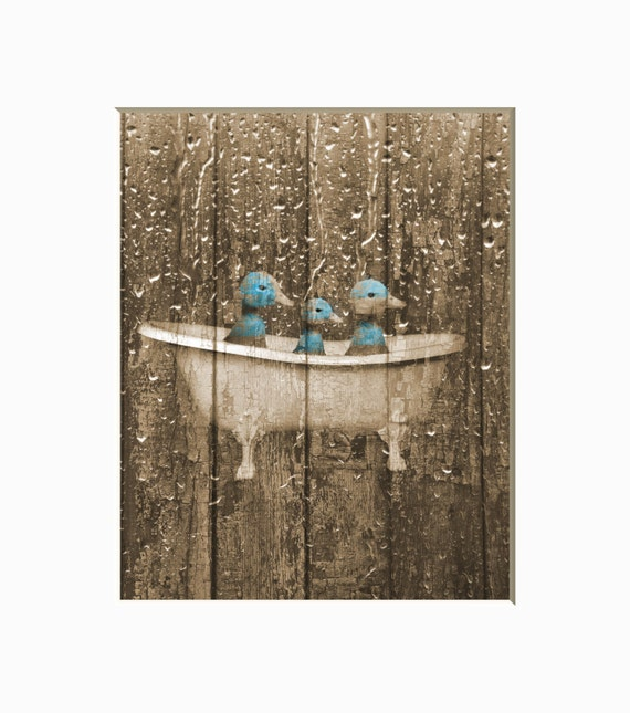 Rustic Country Vintage Bathroom Wall Decor Ducks In Bathtub   Etsy