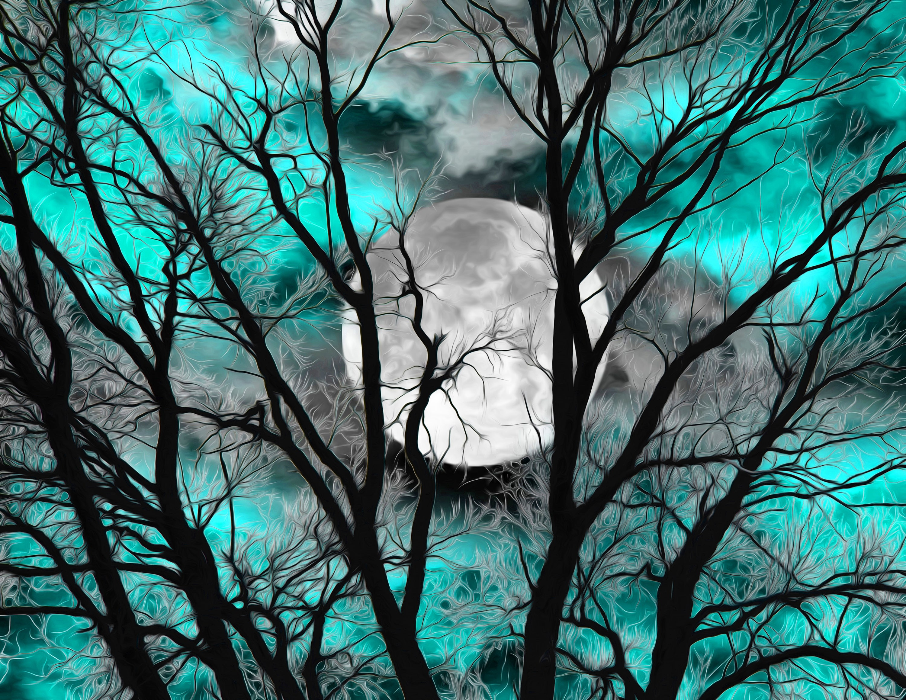 Teal Wall Art Picture Tree Moon Decor Teal Modern Bedroom ...