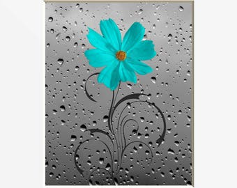 Teal Gray Floral Wall Decor, Teal Flower Raindrops, Bathroom Bedroom Teal Wall Art Matted Picture